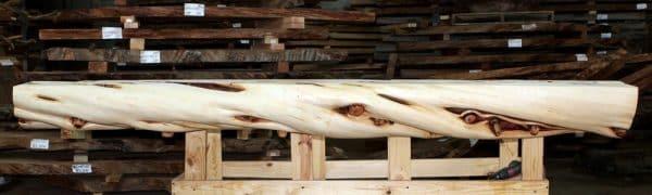 Rustic log mantel