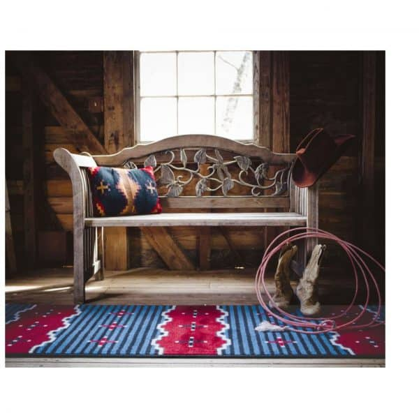 Western scene and blue striped rug