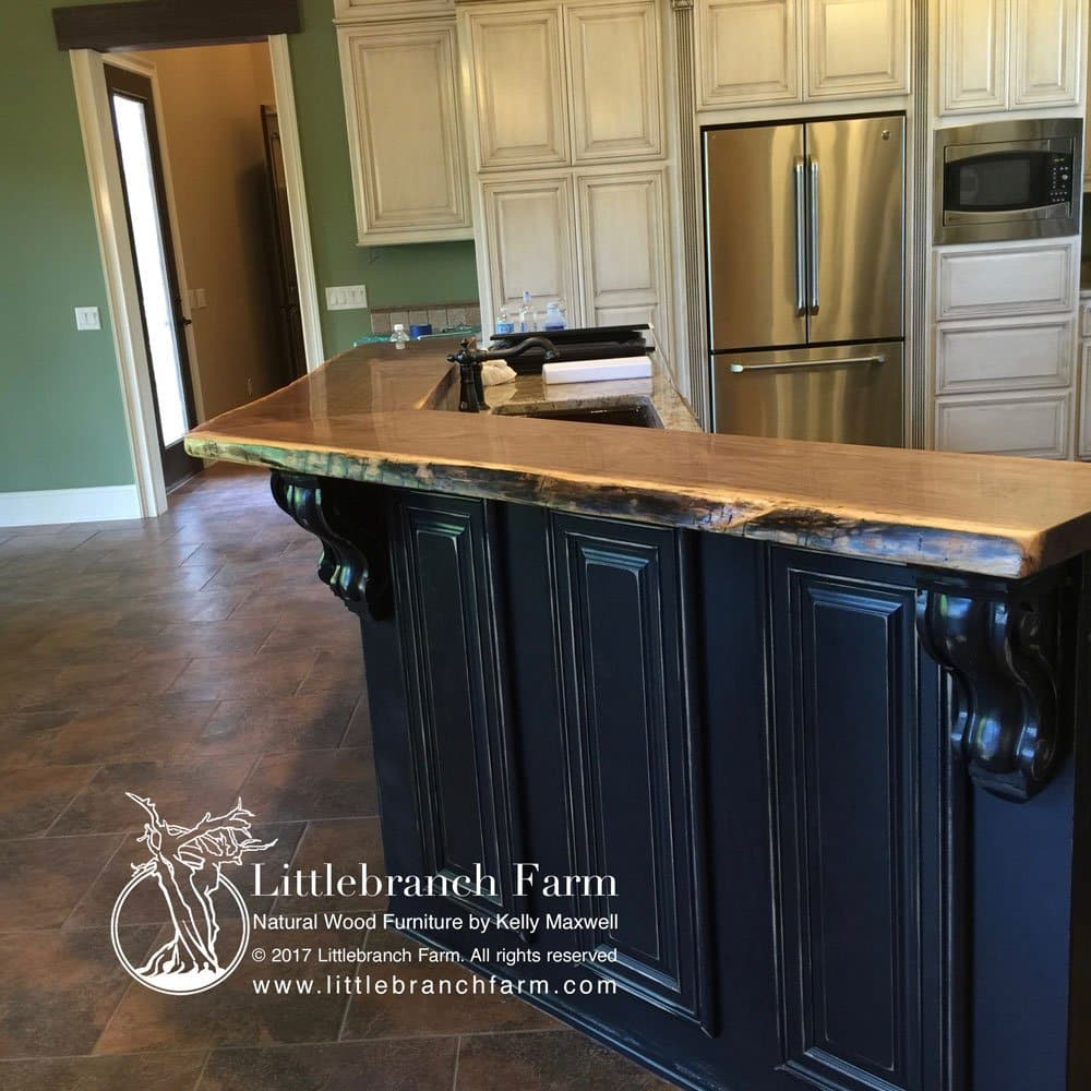 made edge littlebranch salvaged countertop features redwood wood slabs from this decor farm live countertops growth kitchen old elegant natural