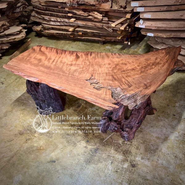 Natural wood executive desk