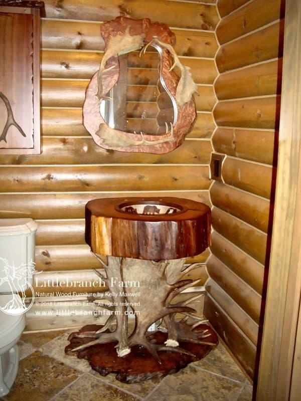 Moose paddle sink with antler mirror.