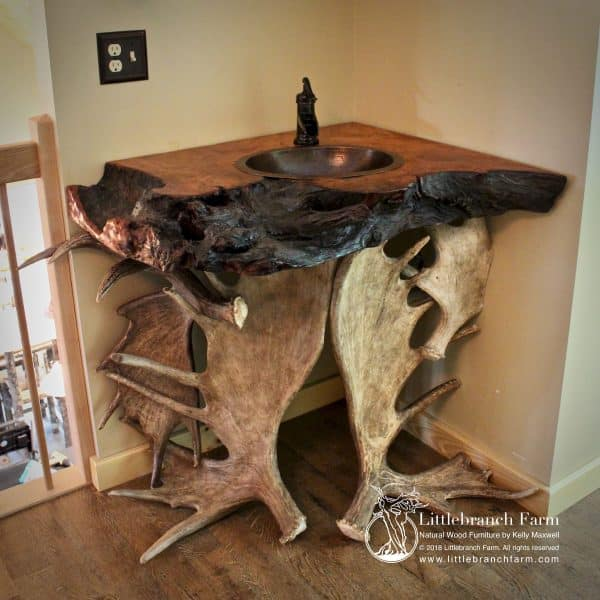 Moose antler rustic bathroom vanity