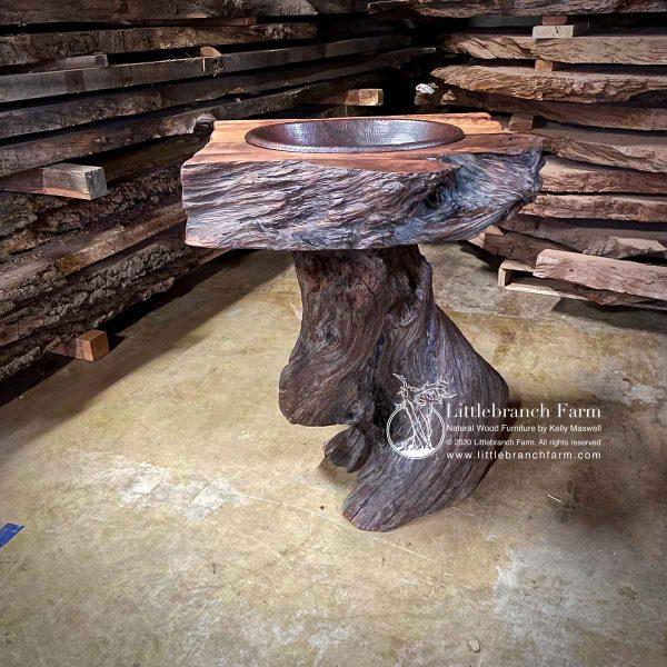 Redwood rustic bathroom vanity