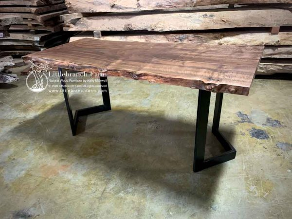 Rustic modern wood slab dining table.