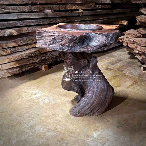 Natural redwood driftwood sink.