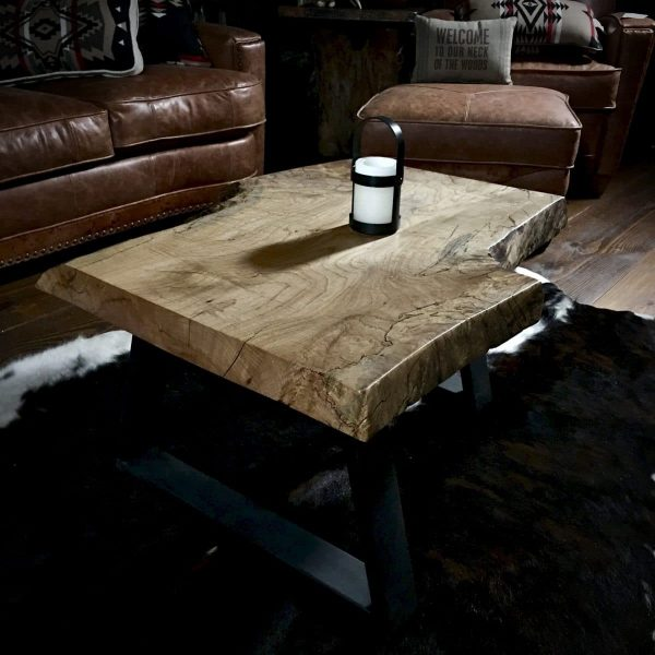 Rustic modern slab table