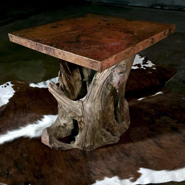 Hammered copper rustic end table