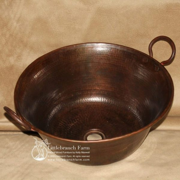 copper vessel sink with handles