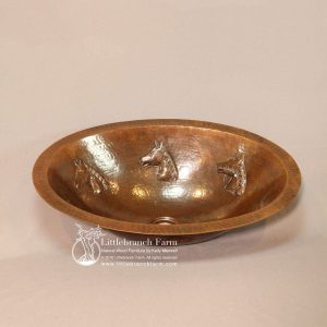 Horse hammered copper sink