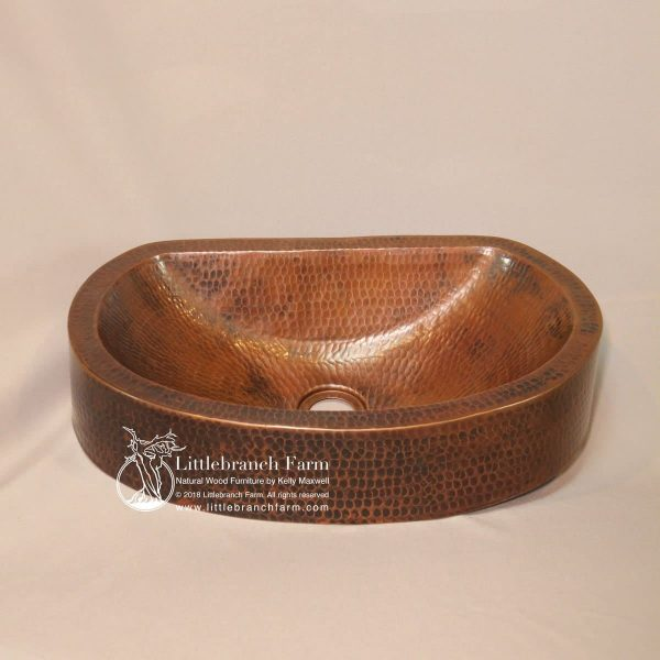 Hammered copper oval vessel sink