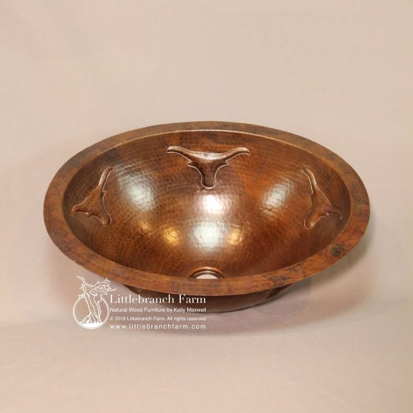 Under mount oval hammered copper sink