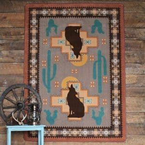 Traditional southwest rug with coyote