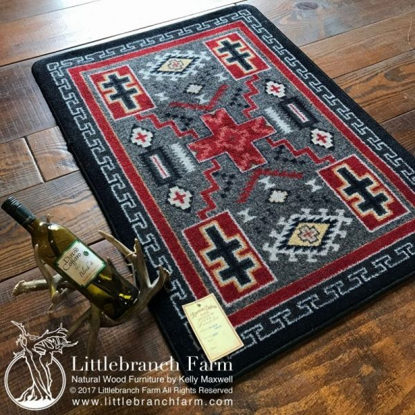 rug with antler wine holder