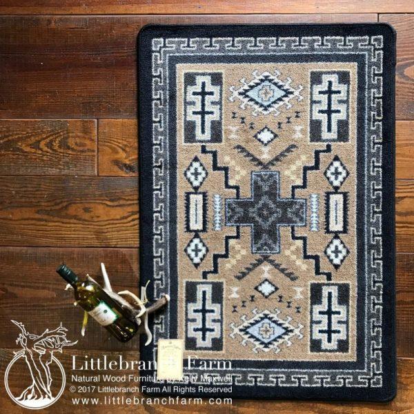 Tan rug on rustic floor