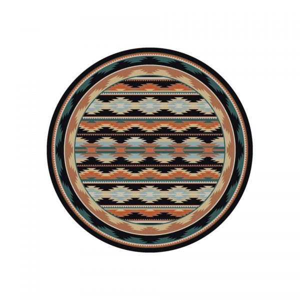 Round southwestern area rug