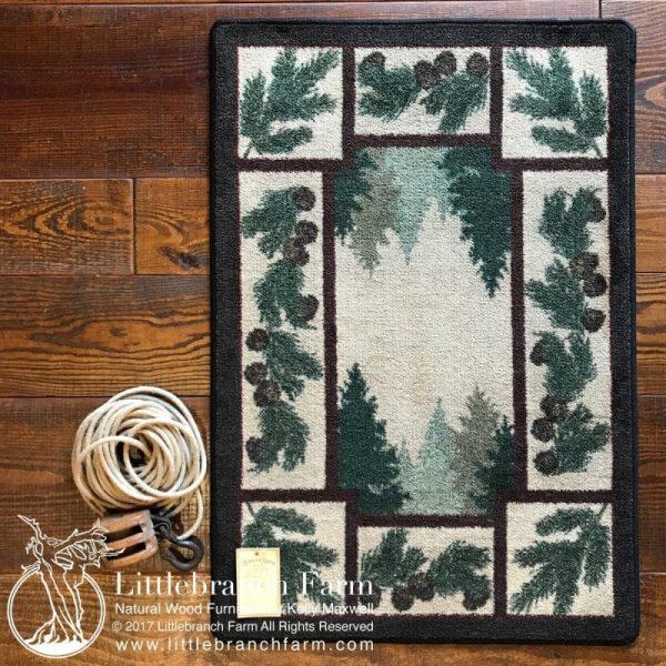 Green pine tree rug