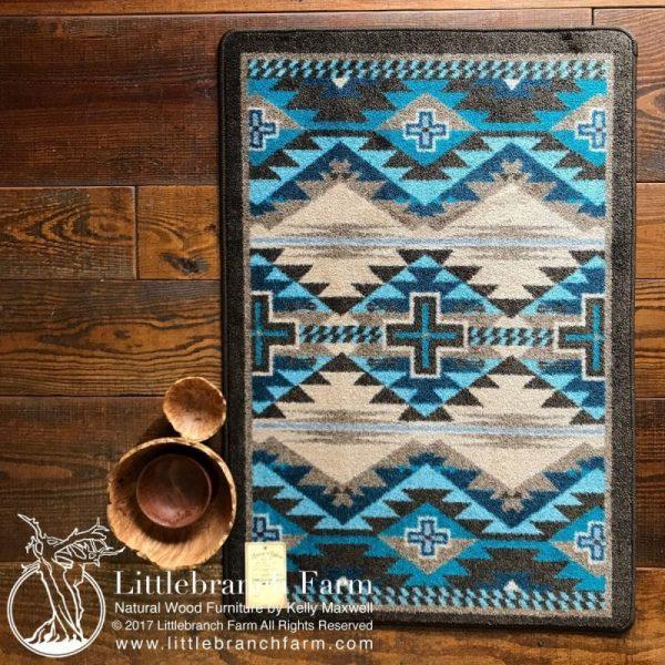 teal blue southwest rug