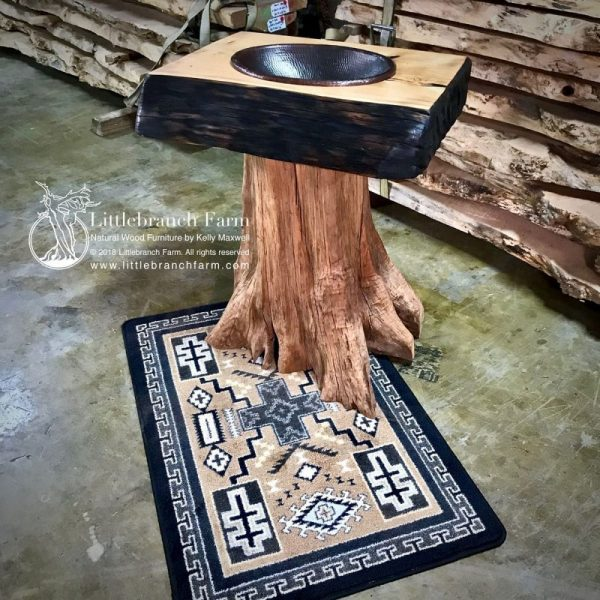 Cedar tree bathroom sink on rug