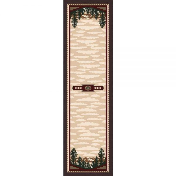 Runner rug with pine tree design.