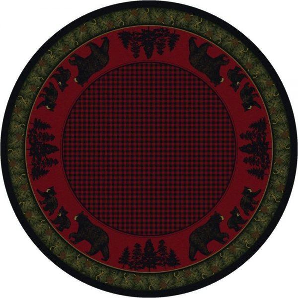Round bear area rug
