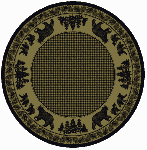Green round rug