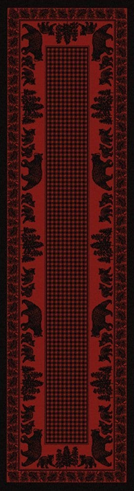 Bear family red runner rug.