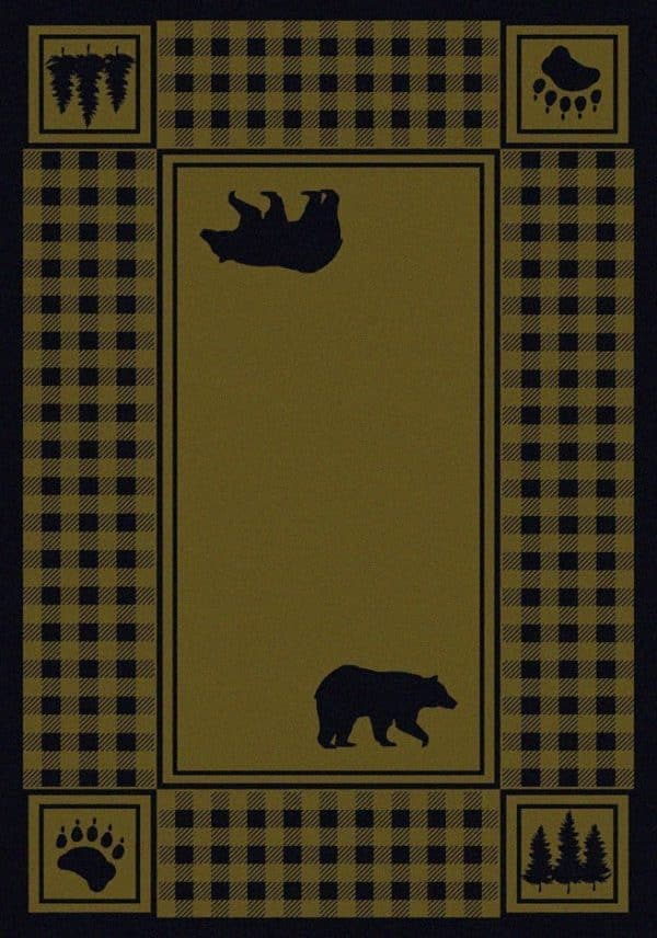 Green rug with bears and pine trees.