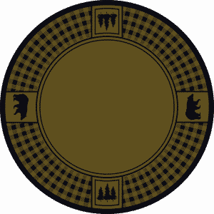Green round rug win bears and pine trees.
