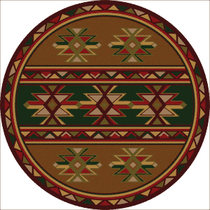 Gold southwestern round rug.