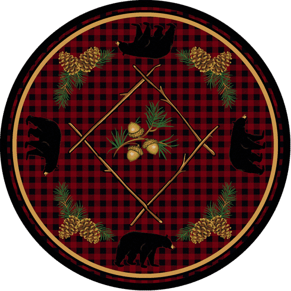 Round red cabin rug
