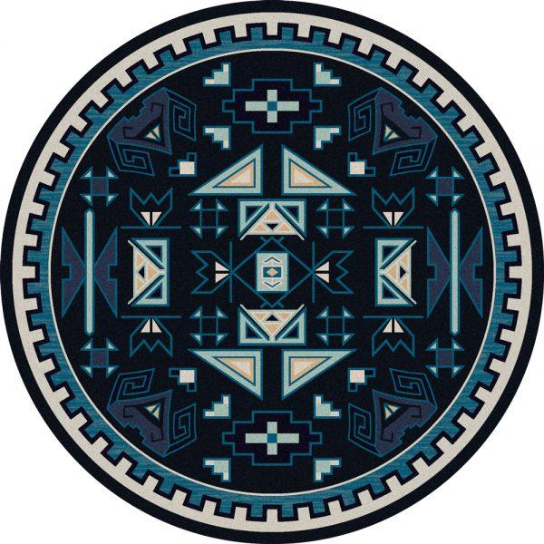Southwest round rug in dark blue