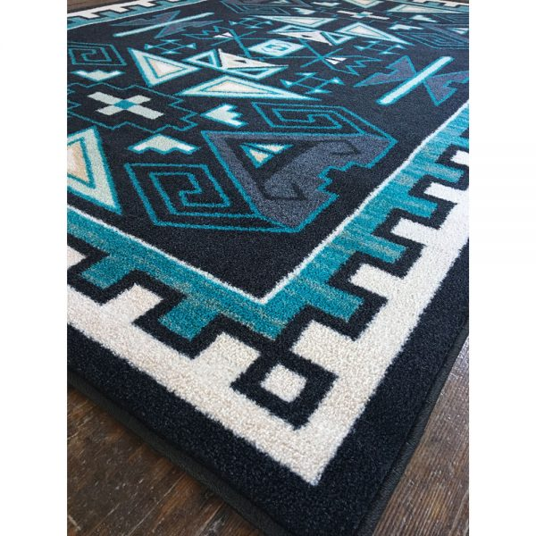 Ram rug detail picture in blue