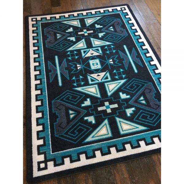 Shades of blue four ram rug