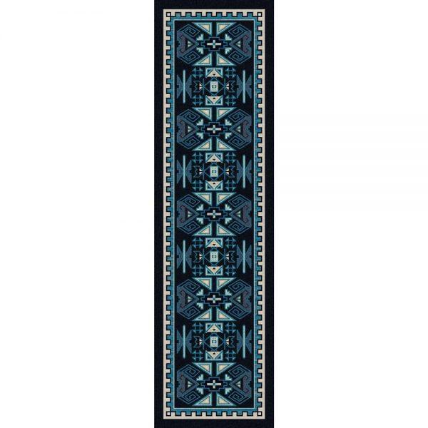 runner rug in dark blue