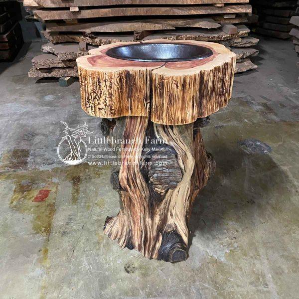 eastern red cedar stump log vanity