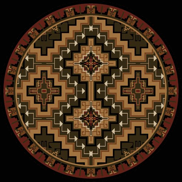 Round elegant brown and tan rug.