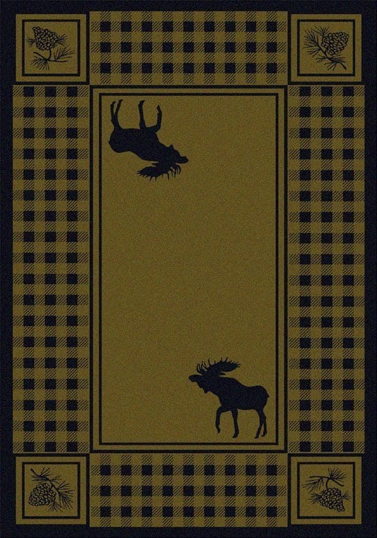 Green area rug with moose.