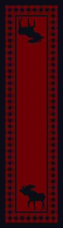 Red moose runner rug.