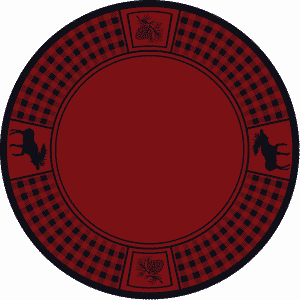 Red round rug with moose.