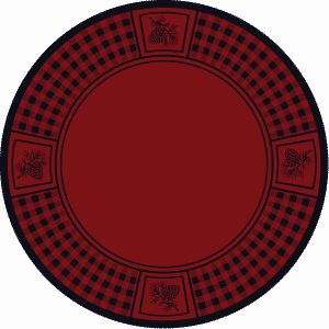 Round red rug with pine cone design.