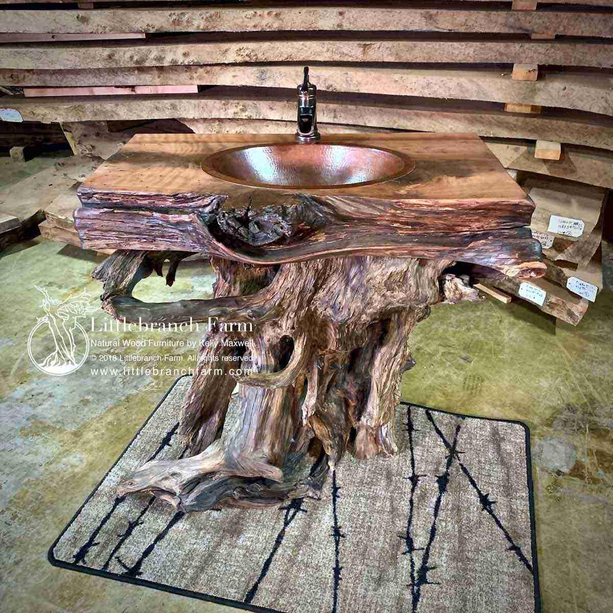 Redwood Root Bathroom Vanity Littlebranch Farm