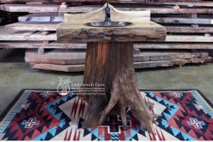 Western cedar pedestal vanity.