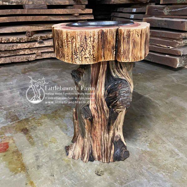 Gnarly cedar stump log vanity.