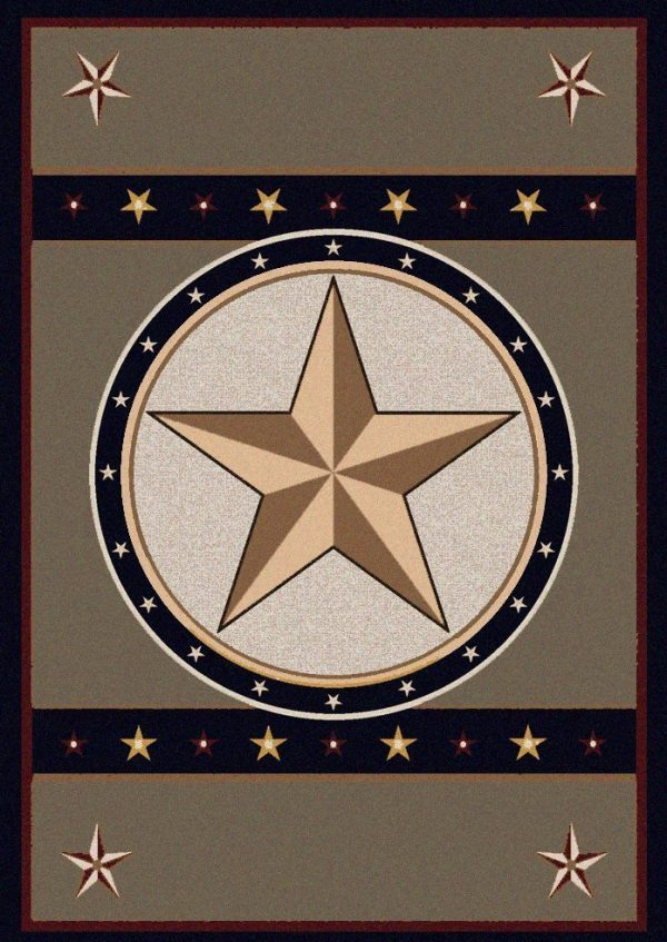 Texas style western area rug with a star