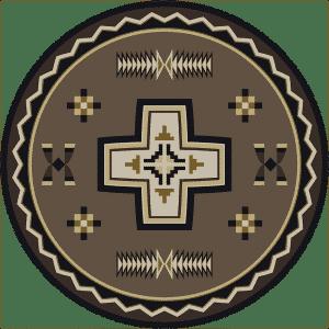 Round southwestern cross rug