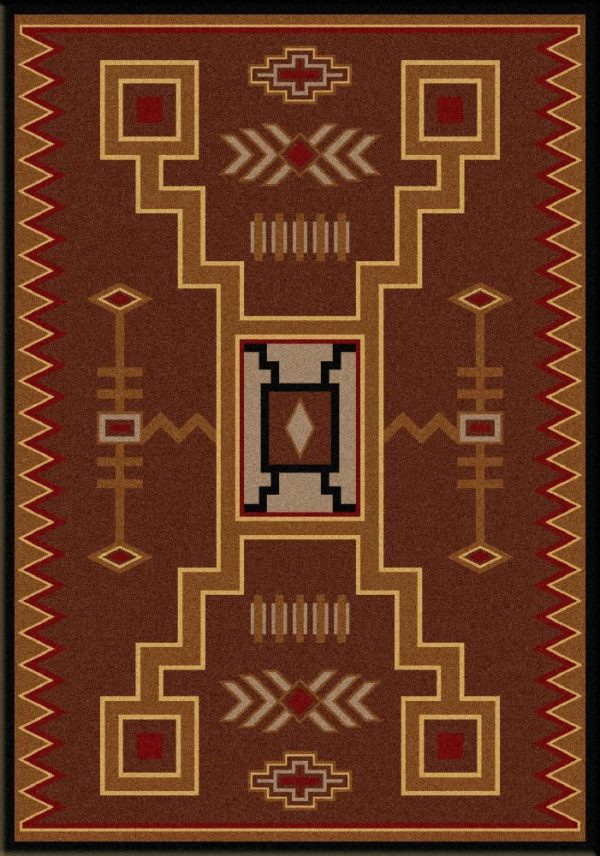 Rust and gold colored rug.