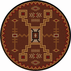 rust colored round southwestern rug