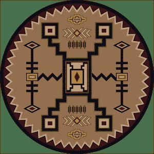 round tan southwestern rug.