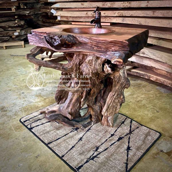 Redwood root bathroom vanity