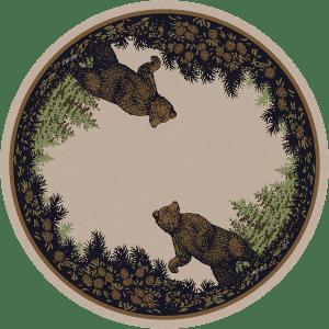 Round twin bears rug